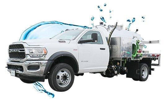 1275 white cab ram vacuum truck with water splash