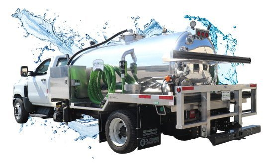 1500 white cab vacuum truck with water splash