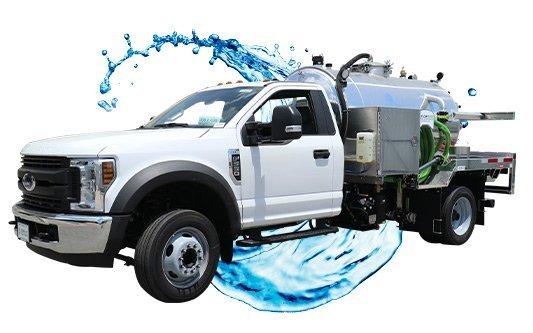 white cab vacuum truck with water splash