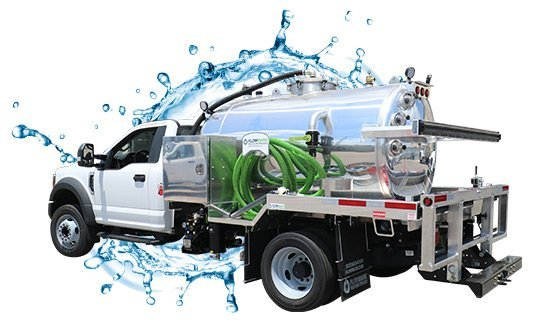 999 white cab vacuum truck with water splash