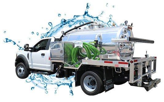 999 white cab vacuum truck with water splash