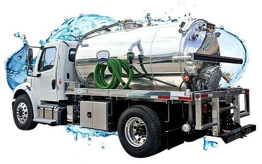 white cab vacuum truck 2000 gallon with water splash