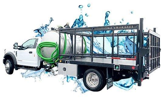 white cab pick up vacuum truck with water splash