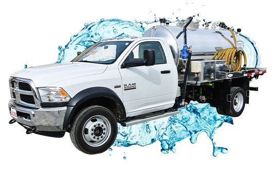 pit cleaner with white cab vacuum truck with water splash
