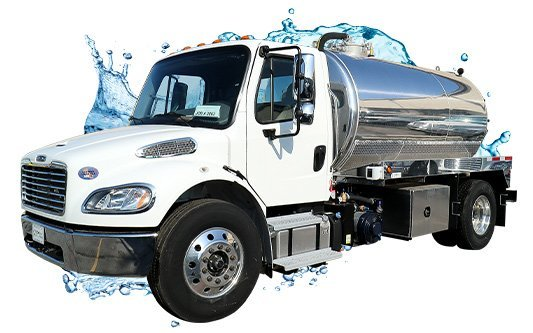 septic white cab vacuum truck with water splash