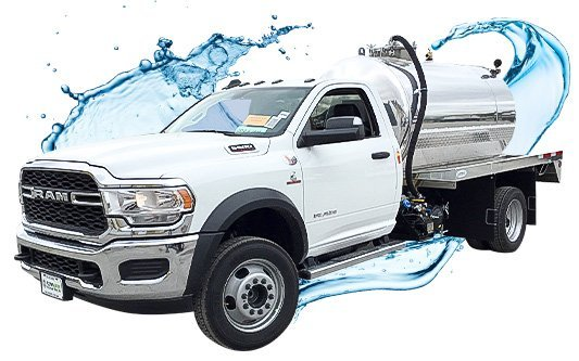 Ram septic vacuum truck side view with water splash