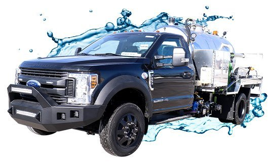 black ford stainless steel vacuum truck with water splash