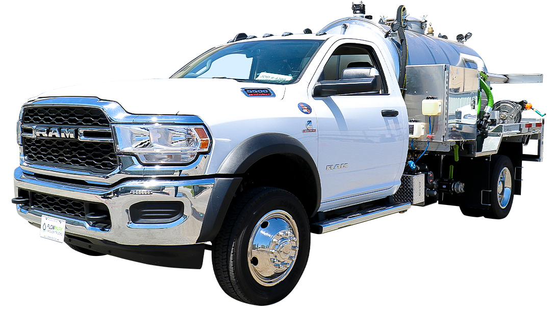 white cab vacuum truck stainless steel
