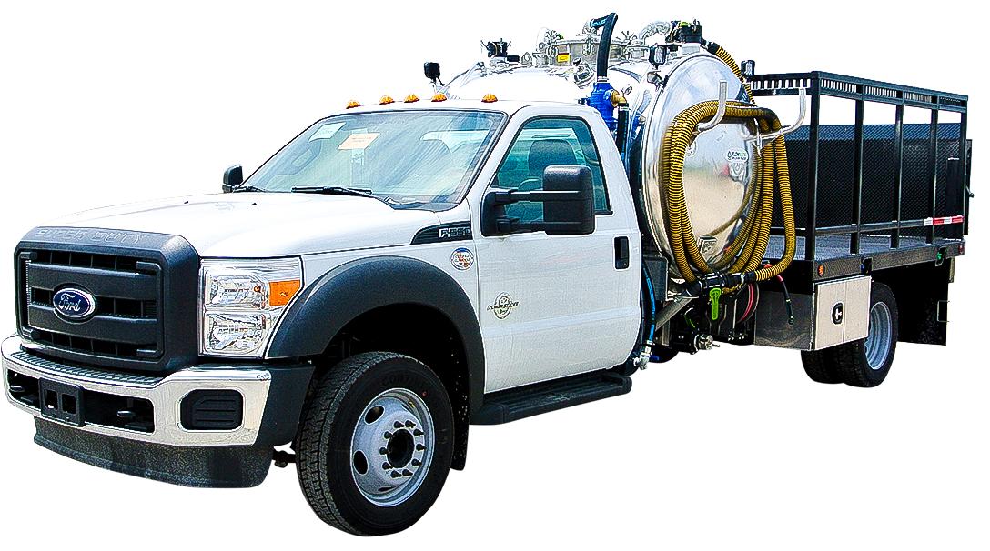 white cab vacuum truck skymark