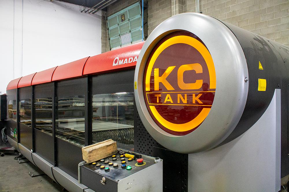 Laser cutter machine at Flowmark and KC Tank, a Kansas City vacuum truck manufacturer
