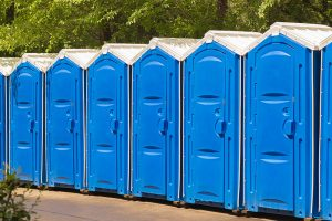 Portable restrooms at event